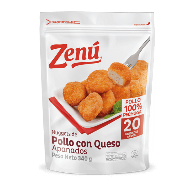 Nuggets de pollo con queso apanado