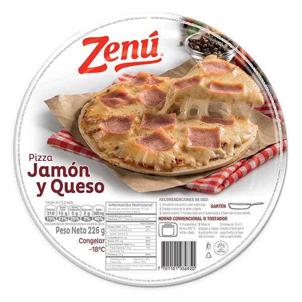 Pizza jamon queso Zenú